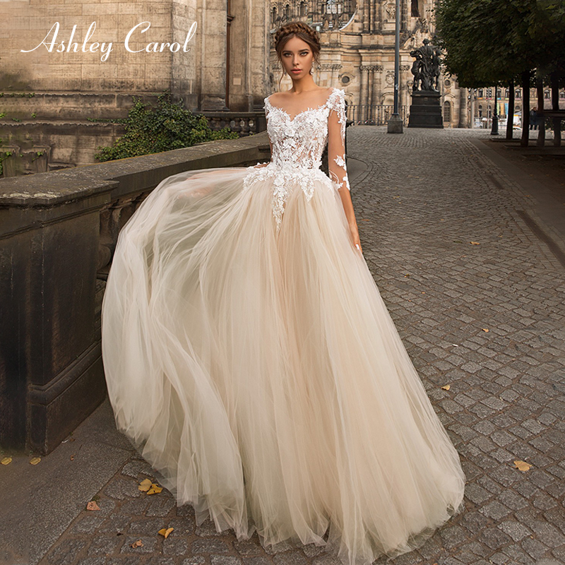 Ashley Carol Sexy V-neck Long Sleeve Tulle Wedding Dresses 2019 Appliques A-Line Princess Bridal Dress Simple Wedding Gowns
