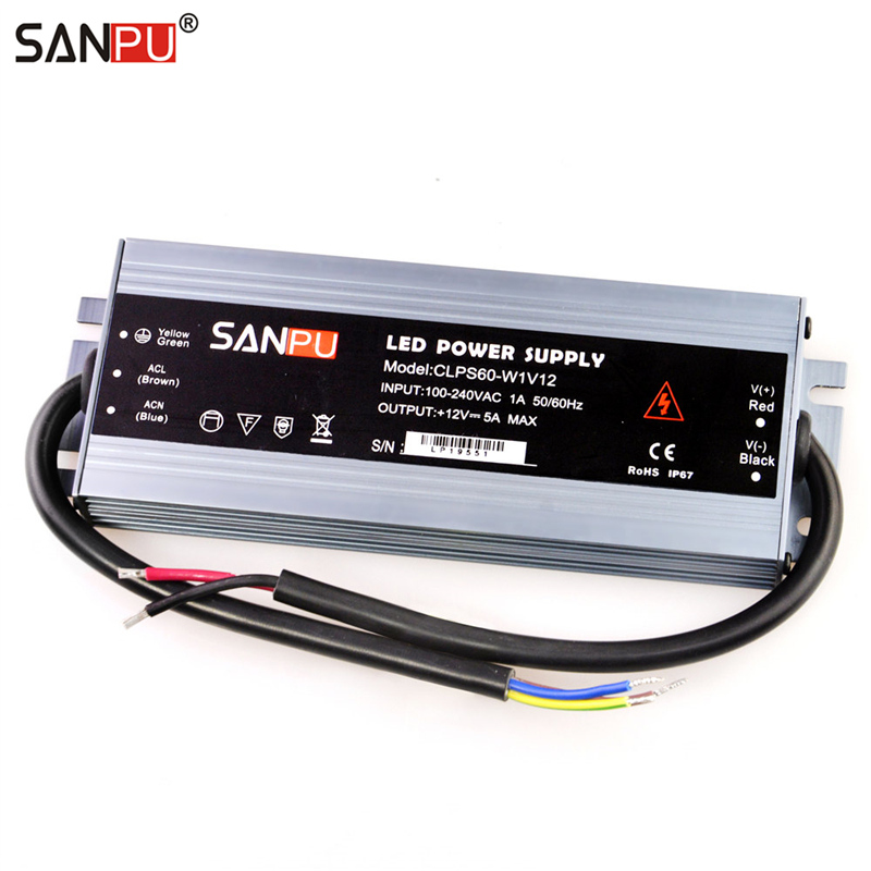 цена SANPU 12VDC Waterproof LED Power Supply 12V DC 60W 5A IP67 110V 220V AC-DC Lighting Transformer Driver 12Volt Thin Slim Aluminum