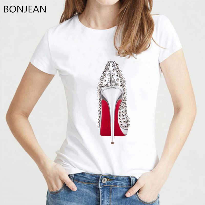 Nieuwste aquarel hoge hakken schoenen print vogue t-shirt femme grappige t-shirt vrouwen 90s hip hop punk shirt hipster streetwear
