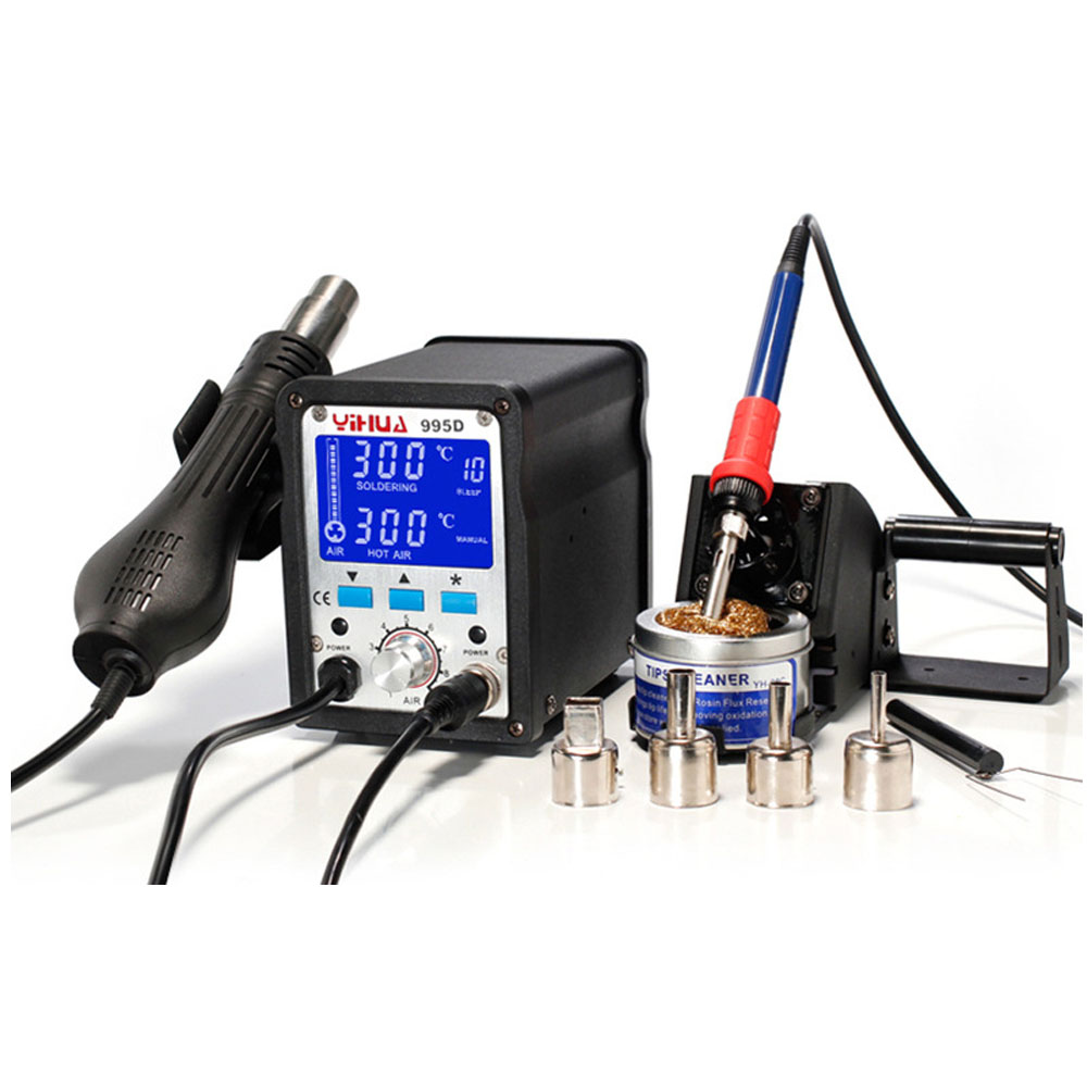 yihua 2 In 1 Soldering Station 995d Hot Air Gun Soldering Iron Motherboard Desoldering Welding Repair 110v / 220v wozniak 220v 2 in 1 soldering station 995d hot air gun soldering iron motherboard desoldering welding bga cup chip a7 a8 a9 a10