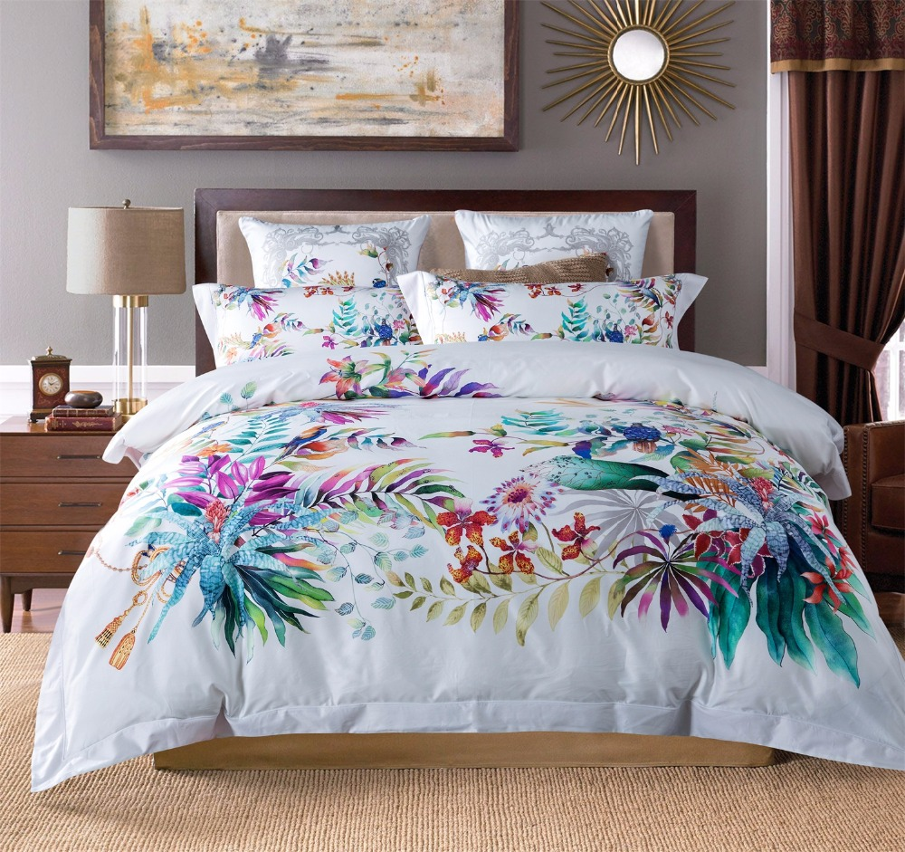 100s Egyptian Cotton Bedding Set Boho Luxury Tencel Bed