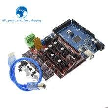 TZT imprimante 3D Mega 2560 R3 + rampes 1.4 panneau de commande + 5 pièces DRV8825 moteur pas à pas transporteur Reprap pour arduino