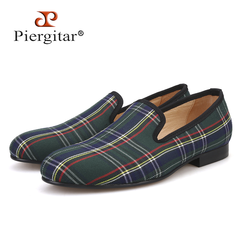 69734d17c834 Scotch plaids Fabric Handmade Men shoes Red and Blue Casual loafers Banquet  and Prom Men Flats Plus Size US 4-17 Free shipping