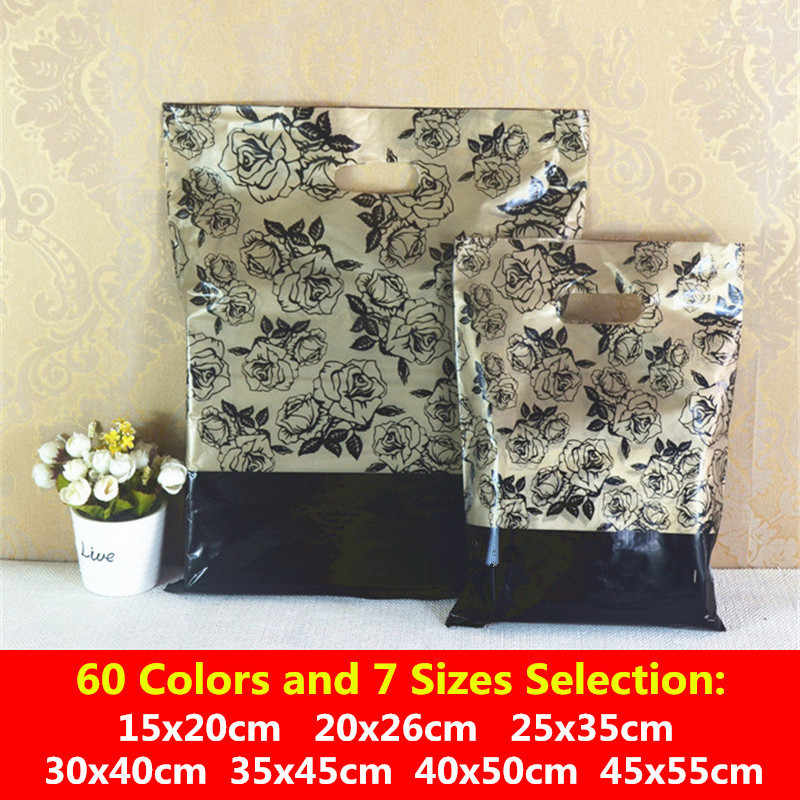 10 шт 25x35 30x40 35x45 см большой супермаркет Пластик пакеты для магазинов упаковка украшений вечерние подарочные пакеты с ручками хранения ткань сумки