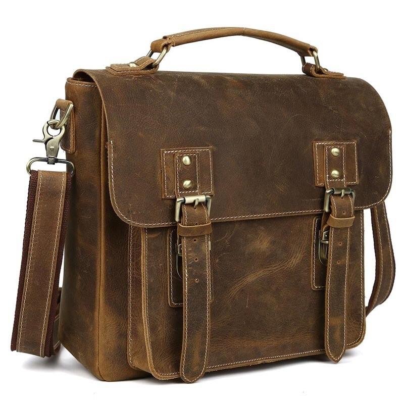 Genuine Leather TIDING Luxury Crazy Horse Leather Men Messenger Bag Handbags Briefcase Shoulder Bag Vintage Style Crossbody Bag