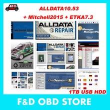 2017 Hot Car Repair Alldata Software V10.53+mitchell on demand 5 software 2015 usb 1TB hard disk all data diagnostic-tools(China (Mainland))