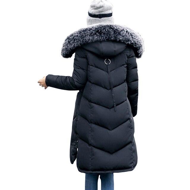 2018 winter women hooded coat fur collar thicken warm long jacket female plus size 3XL outerwear parka ladies chaqueta feminino 4