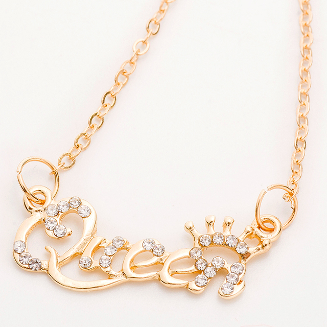 Hhyde new gold color queen letter crystal crown pendant necklace hhyde new gold color queen letter crystal crown pendant necklace for women temperament fashion altavistaventures Image collections
