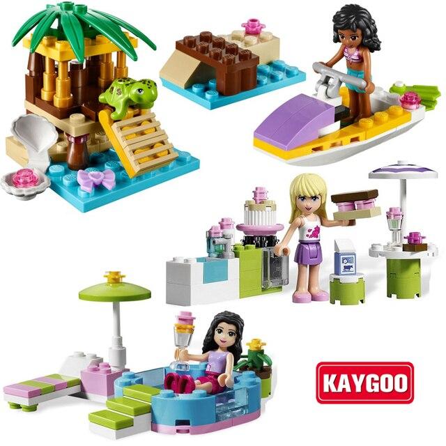 KAYGOO 8pcs/Lot Girl's Friends Emma/Mia Cat Play Pet House Building Blocks Children DIY Kids Toys