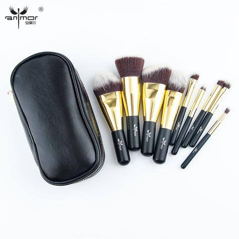 Anmor Hot Sale 9 Pieces Synthetic Hair Makeup Brushes with Sliver Color Bag Beautiful Traveling Makeup Brush Set B001 Islamabad
