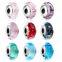 BISAER 925 Sterling Silver Nostalgic Roses Murano Glass Beads Fit Original Pandora Bracelet Authentic Silver Jewelry