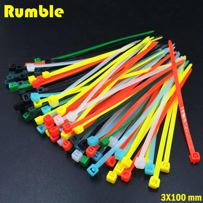 3X100MM Self-Locking Plastic Nylon Wire Cable Zip Ties 100pcs Mix Color Cable Tie Fasten Loop Cable High Quality Multiple Color