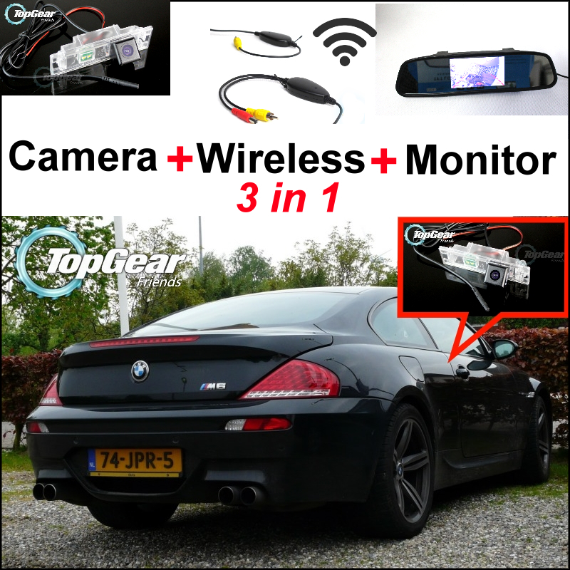 3in1 Special WiFi Camera + Wireless Receiver + Mirror Monitor Easy DIY Parking Rear View System For BMW 6 Series M6 E63 E64 3in1 diy for hyundai elantra gt wireless wifi bluetooth backup rear view reverse rearview parking camera camara