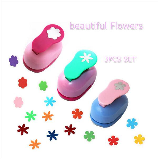3PCS Different Beautiful Flowers Shape  Craft Punch Set  Children Manual DIY  Hole Punches  Scrapbook DIY Paper Cutter