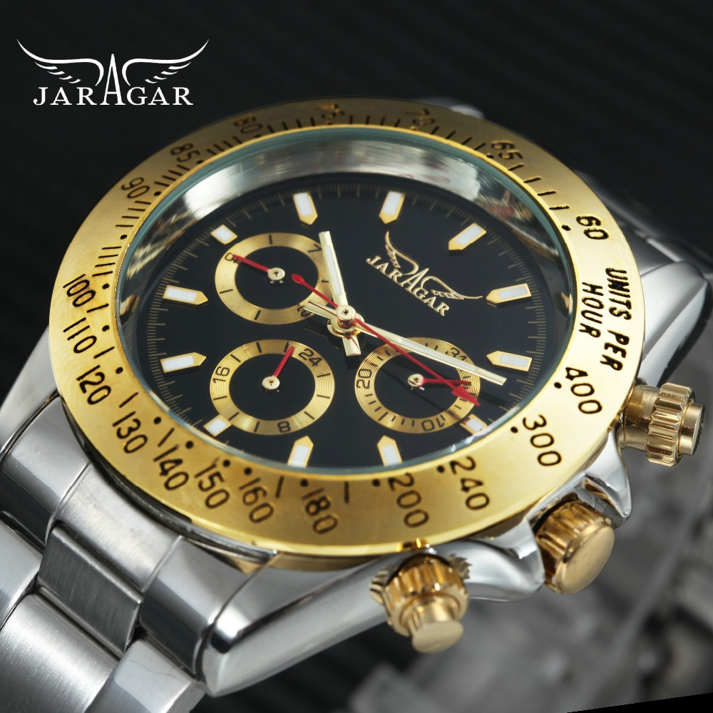 JARAGAR Golden Mens Watches Top Brand Luxury 6 Hands 3 Sub-dials Calendar Auto Mechanical Stainless Steel Strap Wrist Watch карандаш для бровей vivienne sabo