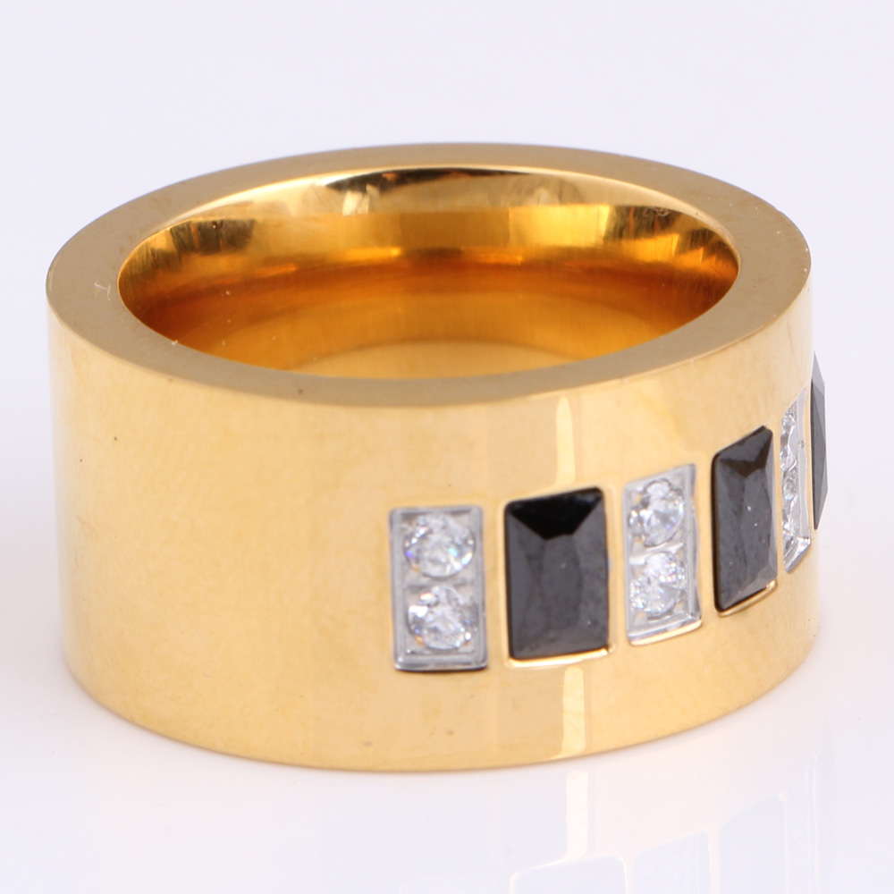 Fashion Gold Color 316L Stainless Steel Wedding Ring With Black and - Fashion Jewelry - Photo 6