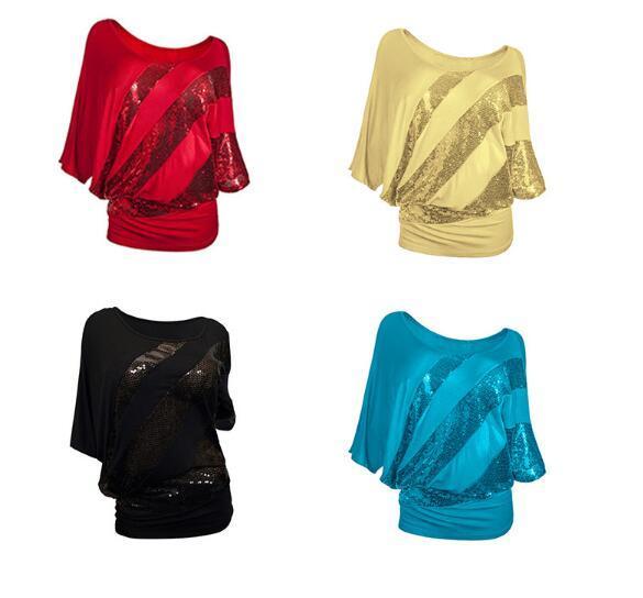 Topos de Primavera 2017 de moda de nova sexy manga morcego O-pescoço T-shirt com lantejoulas costura camisa de algodão stretch