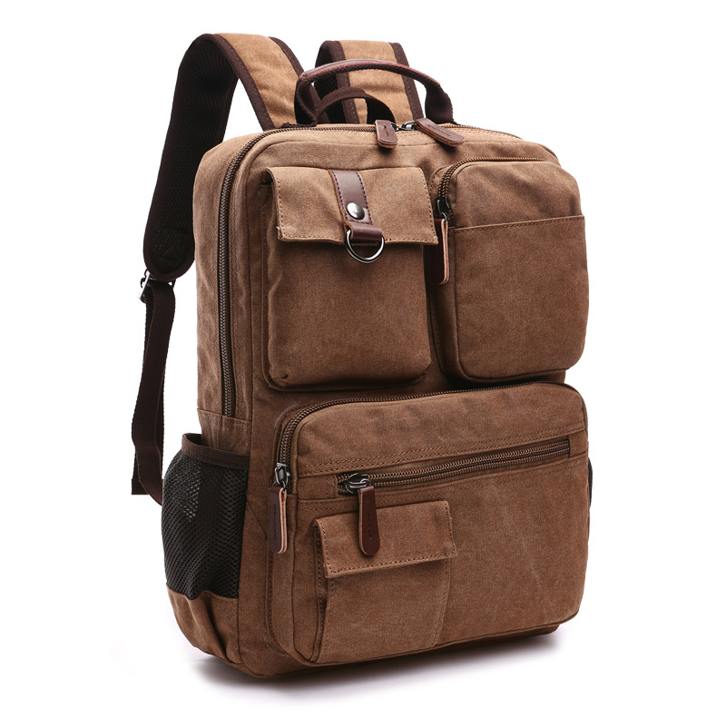 Men Canvas Backpack Shoulder Bag Korean Middle School Students Leisure Bag Computer Bag Mochila Laptop Rucksack
