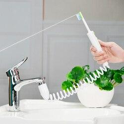 Nova torneira de água irrigador oral dental flosser cabeças escova de dentes portátil jato água 2 ponta implementar irrigação dente fio dental caixa