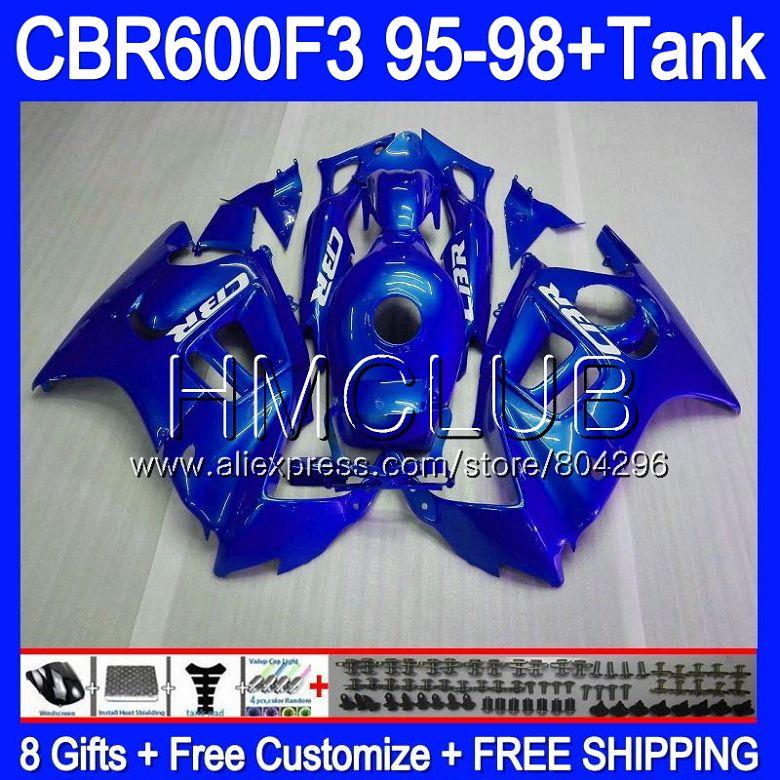 Corps bleu Brillant Pour HONDA CBR 600F3 FS CBR 600 F3 95 96 97 98 59HM. 11 CBR600FS CBR600 F3 CBR600F3 1995 1996 1997 1998 Carénage
