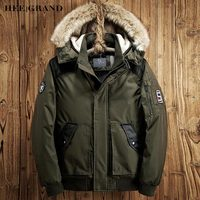 HEE GRAND Men Casual Parkas 2018 New Arrival Solid Color Warm Padded With Fur Hat Autumn Winter Loose Coat Size M XXL MWM1660