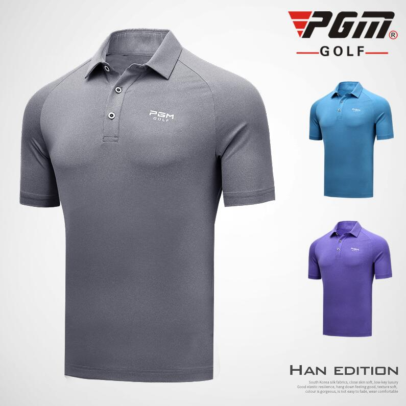 PGM 2018 New Golf Clothing Mens Short-sleeved T-shirt Summer stretch breathable sportswear Quick-drying fabric golf POLO shirts