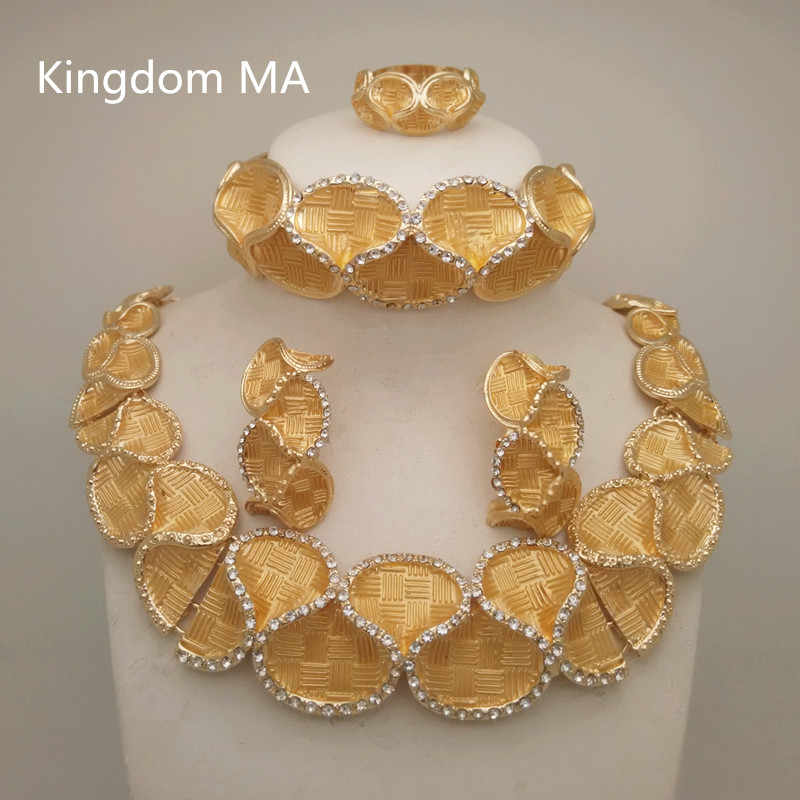 Kingdom Ma Top Dubai Gold Color Jewelry Sets Nigerian Wedding African Crystal Necklace Bracelet Earring Ring Big Jewelry Set