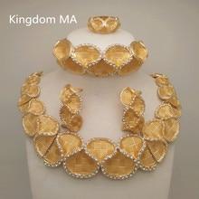 e0d973038282 Kingdom Ma Top Dubai conjuntos de joyas de Color oro boda nigeriana collar  de cristal africano pulsera anillo pendiente conjunto.