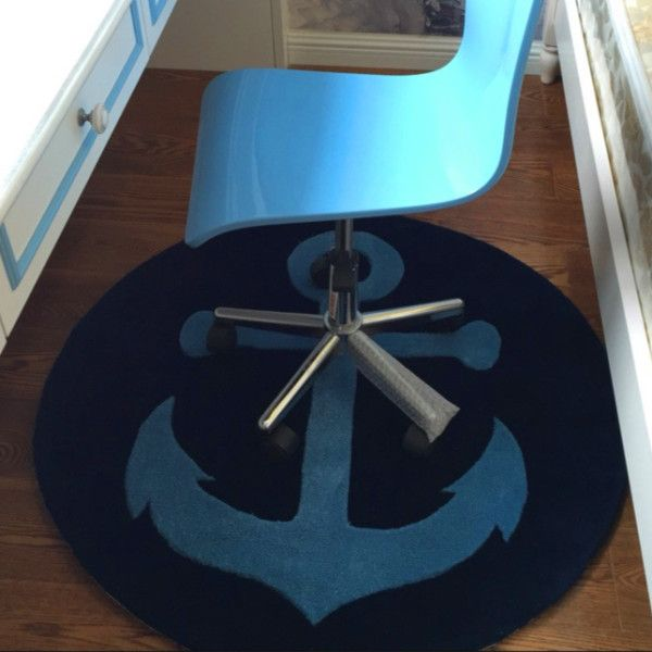 100% acrylique moderne garçon chambre tapis épais rond océan ancre tapis Europe et amérique chambre salon thé table tapis tapetes