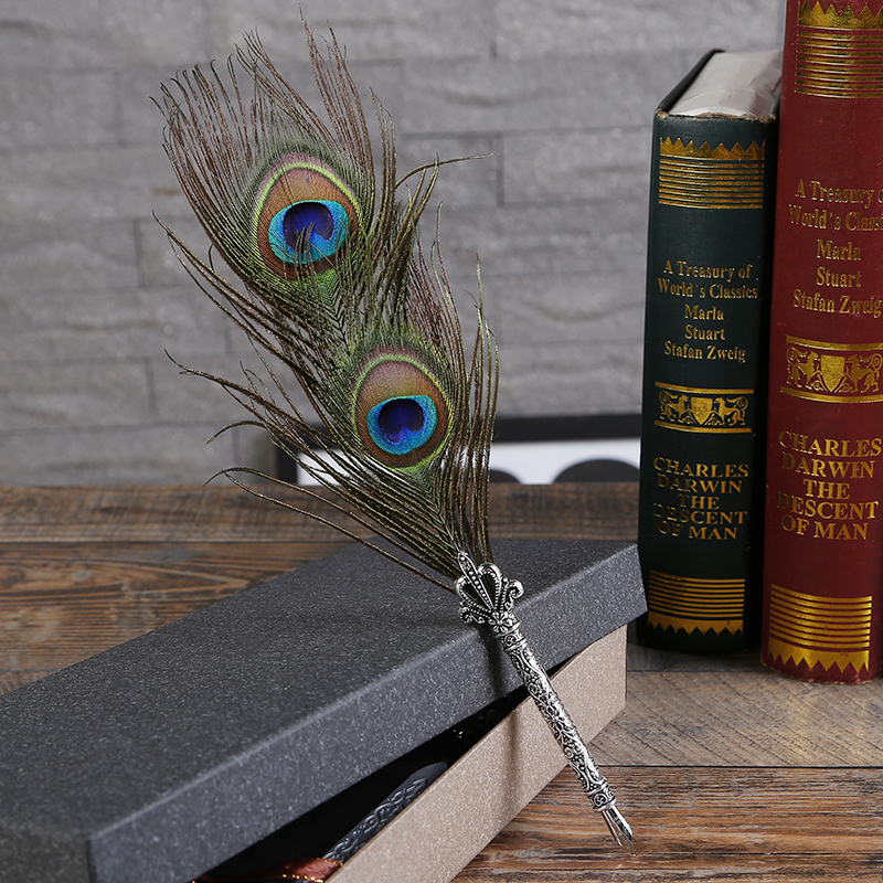 New Peacock Feather Pen Set Personalized Pen Gift Set Creative