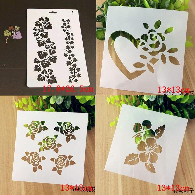 4pcs/set Stencils Rose Flower Plastic Template DIY Scrapbooking Album Drawing Painting Bullet Journal Stencils Paper Craft Decor