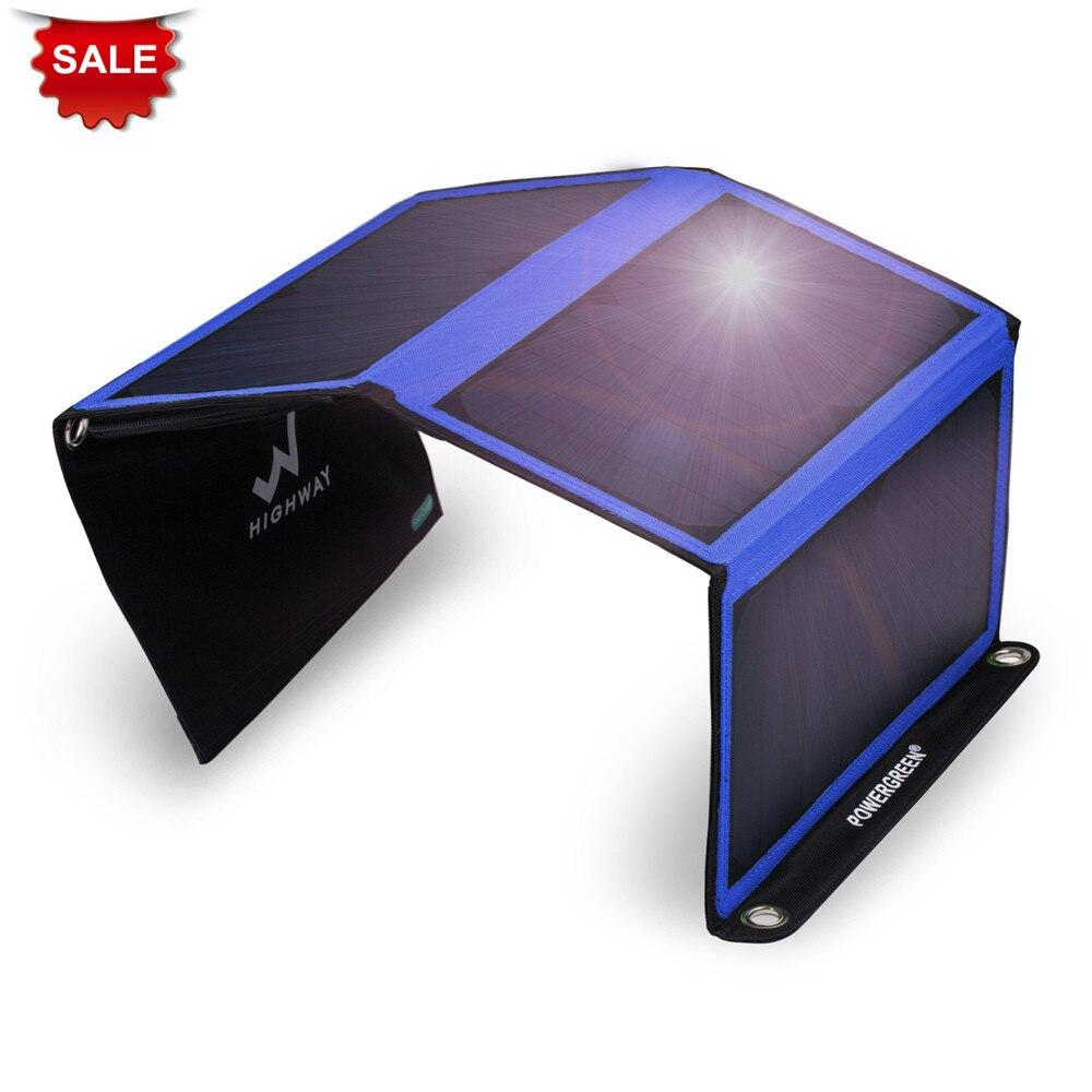 PowerGreen Double chargeur solaire USB 21 Watts mousqueton Design pliable sac à dos d'énergie solaire 5 V 2A panneau solaire pour téléphone