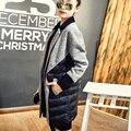 Jaqueta de inverno Mulheres Elegante Costura Roupas Parkas Mais Grosso Casaco de Lã das Mulheres Casaco Longo Casaco de Algodão Jaqueta Casual Senhoras C1407