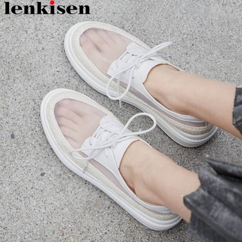 Lenkisen straw decoration round toe thick bottom lace up sneakers loafer ventilated mesh comfortable summer vulcanized shoes L01