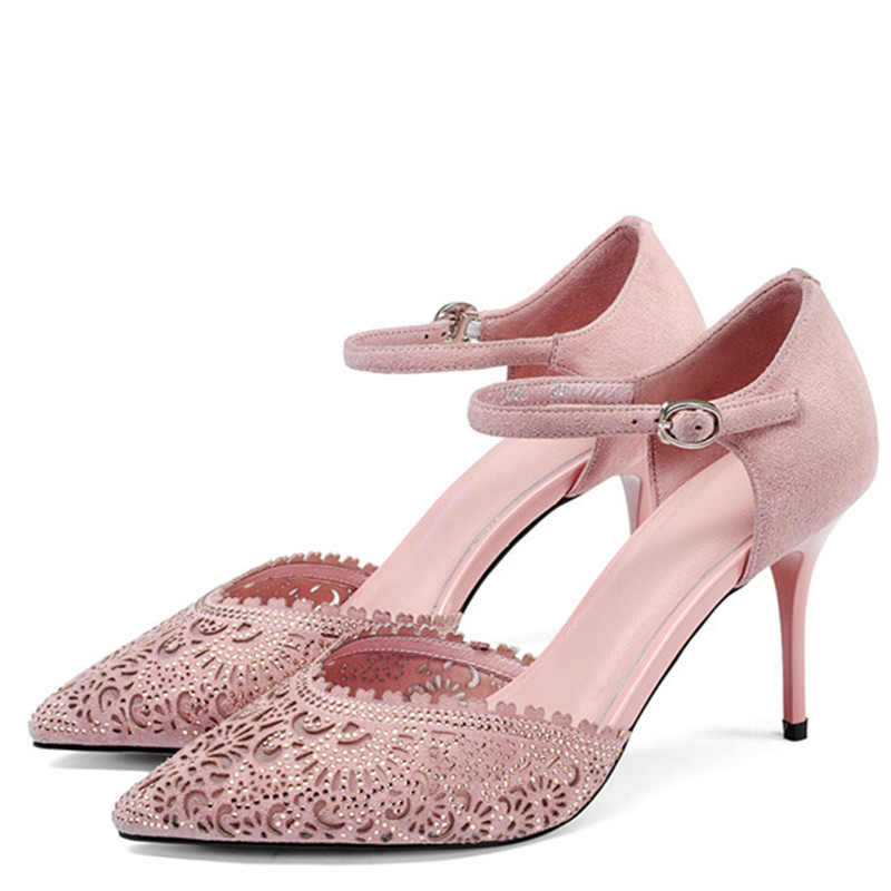 все цены на LOVEXSS Rhinestone Heeled Sandals Genuine Leather Sexy Party Ball Pink Pumps Wedding Pointed Toe Crystal High Heeled Shoes 2018