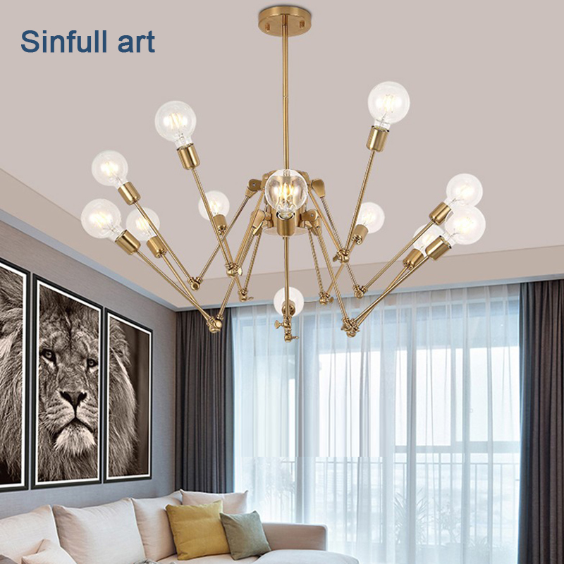 Living room spider pendant Light golden drop lamp modern home Hanging Lights Indoor suspension decoration led Lighting Fixtures