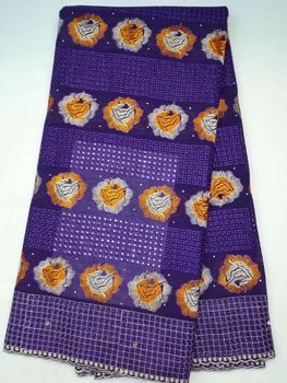 5Yards/pc Wonderful purple african cotton fabric and orange flower embroidery swiss voile lace for clothes LC2-3