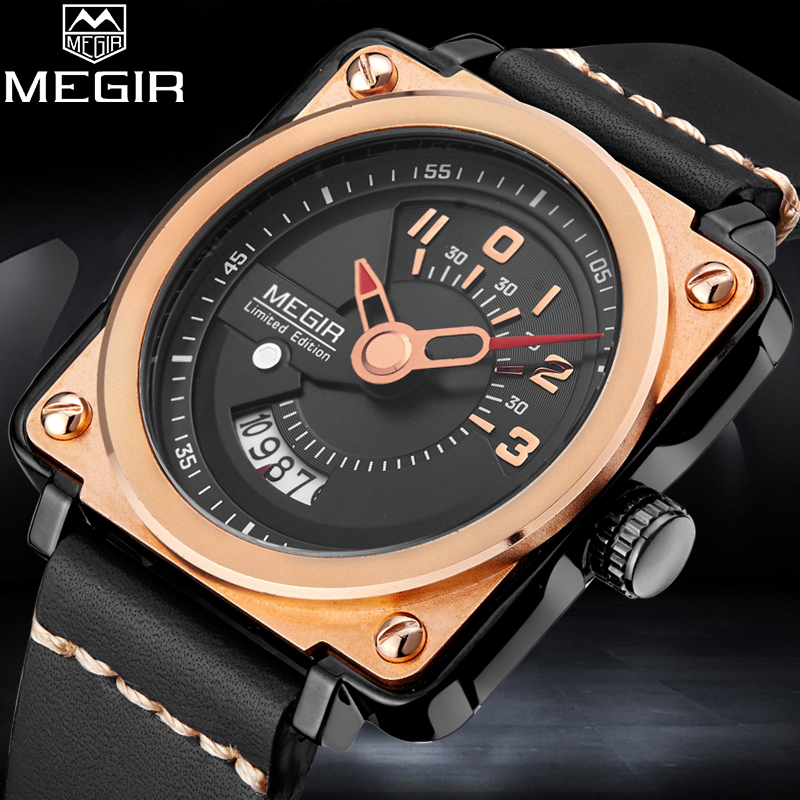 MEGIR Top Men Sport Watch Man Fashion Quartz Watches Mens Multifunction Casual Business Clock Male Wristwatch Relogio Masculino burei fashion men casual watches sport genuine leather quartz watch dress clock hours male business wristwatch relogio masculino