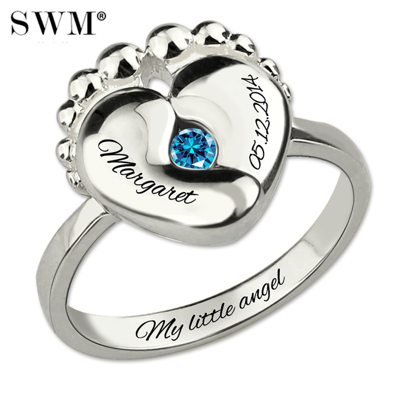 Custom Letter Baby Feet Birthstone Rings for Women Costume Name Ring 925 Sterling Silver Personalized Present