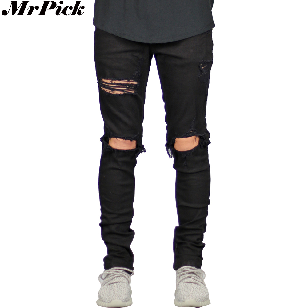 New Men Spandex Stretch Elastic Jeans Leg Side Zipper Ripped Distressed Destroyed Fashion Casual Jeans
