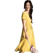 インマン夏着用新ラウンドネックハイウエストベルトショー薄型半袖ドレスミディアムの長さのドレス