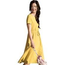 Летняя одежда для inman, новое тонкое платье средней длины с круглым вырезом, высокой талией и поясом