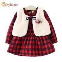 New Girls Dress Set Winter Thick Warm Plaid Dress Ball Brooch Vest With Velvet 2pcs Children