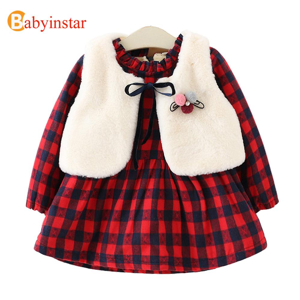 Girls Dress Set Winter Thick Warm Plaid + Ball Brooch Vest With Velvet Children's Clothing Fashion Kids Dresses