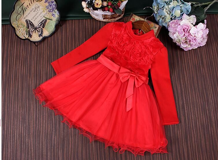 ФОТО Girls winter red dress children 's clothing 2016 winter new velvet Princess skirt female baby Shaqun