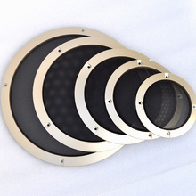 """Pour 2 """"/3""""/4 """"/5""""/6.5 """"/8""""/10 """"pouce Audio haut parleur Conversion Net couverture décorative cercle métal maille Grille # doré + noir"""