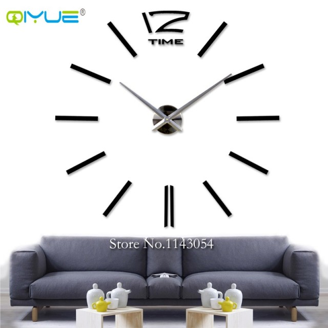 Home Decorations Black Digital Wall Clock European Oversized Living Room  Minimalist Fashion DIY Wall Art Bell Part 81