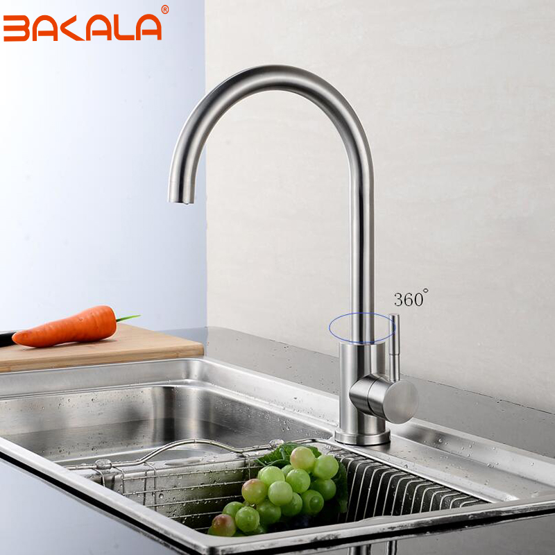 BAKALA High Quality 304 Stainless Steel No Lead Kitchen Sink Faucet Sink Tap 360 Swivel Mixer