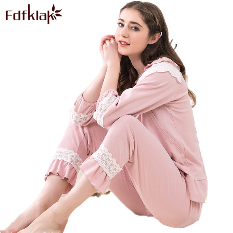 Fdfklak 2018 New Maternity Pajamas Cotton Pregnancy Clothes Sleepwear Nursing Pregnancy Pyjama Set Breastfeeding Nightwear F153