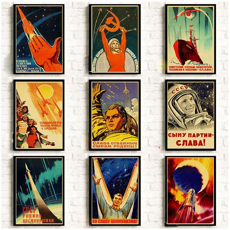Propaganda Poster Kraft-Paper CCCP Wall-Art USSR Home-Room-Decor The-Space Prints Russian